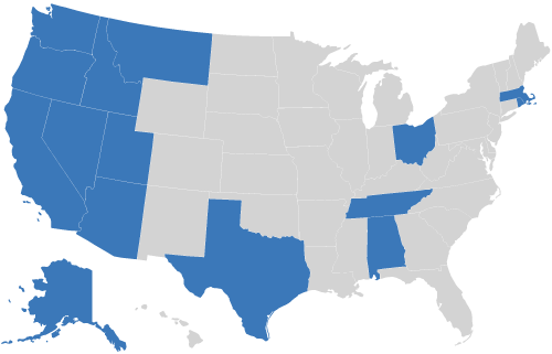 Map of USA with states AK, AL, AZ, CA, ID, MA, MT, NV, OH, OR, RI, TN, TX, UT, WA highlighted